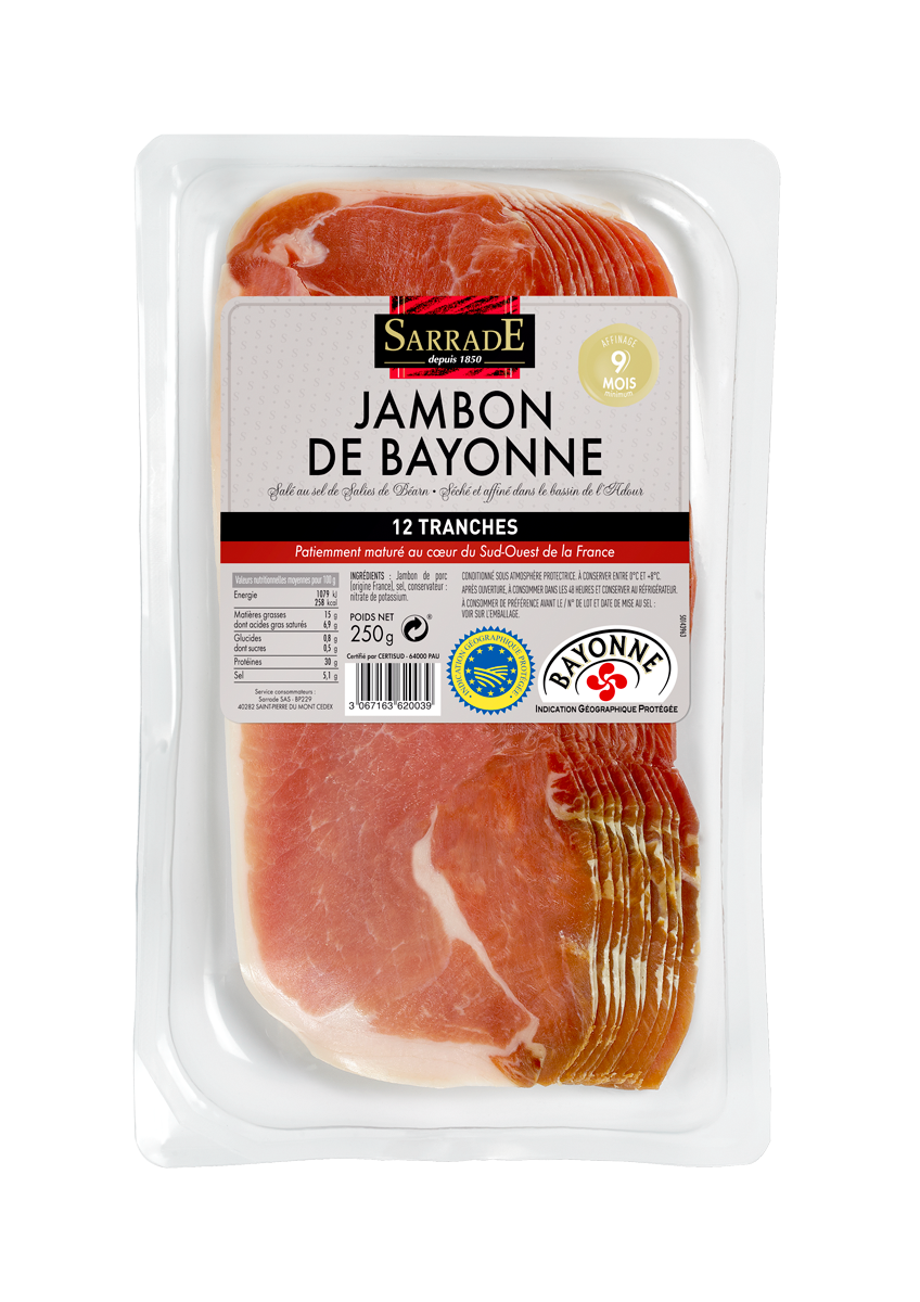 Sliced Bayonne Ham 12 slices 250g
