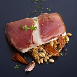 "Fillet in a ""Black Pork"" Ham Crust, with Coco Beans, Truffles and Tomato Confit Recipe"