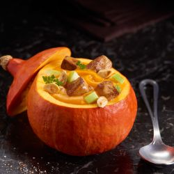 Bistro recipe, CREAM OF RED KURI SQUASH SOUP, SAUTEED FOIE GRAS PIECES, GREEN APPLE