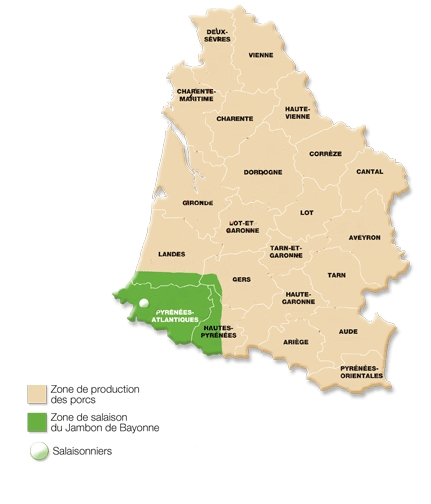 Carte descriptive sur zone d'élevage, d'abattage et de transformation du Jambon de Bayonne IGP