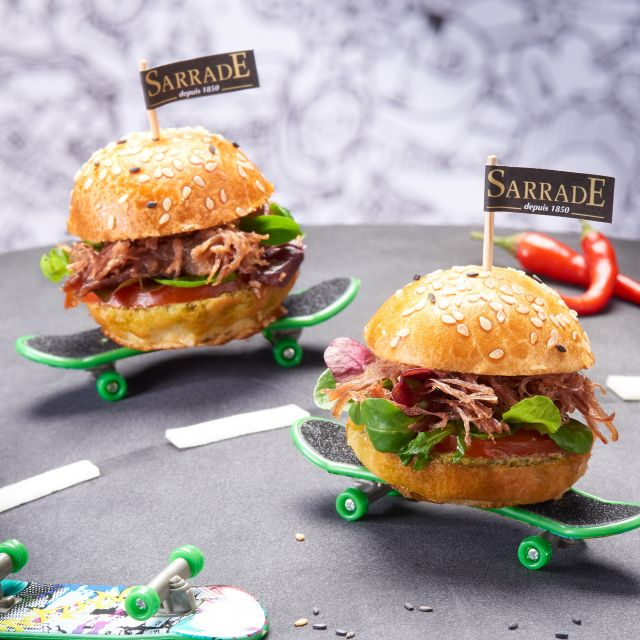 Recipe Brunc/ Mini duck rillettes burger/ Crispy salad
